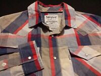 Levi's Mens Medium Long Sleeve Pearl Snap Multicolor Plaid Check Western Shirt