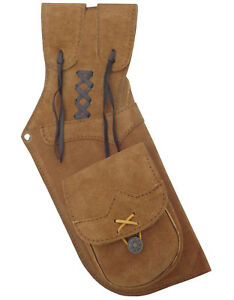 """TRADITIONAL SUEDE LEATHER SIDE HIP ARROW QUIVER  HL#112 BROWN - 15.50"""" LONG R/H."""