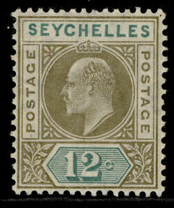 SEYCHELLES EDVII SG63, 12c olive-sepia & dull green, LH MINT.