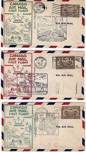 CANADA 1930 THREE FIRST FLIGHT COVERS WINNIPEG CALGARY REGINA EDMONTON DIFF CANC
