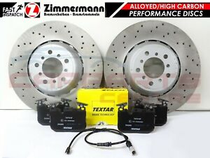 FOR BMW M4 FRONT SLOTTED DRILLED BRAKE DISCS TEXTAR OEM PADS WIRE SENSOR 380mm
