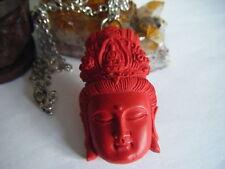 Collar Kuan Yin Diosa espiritual de inspiración Cinnabar tallado Colgante Wow