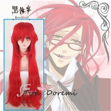 Halloween Wig Costume Black Butler grell Red Cosplay Heat Resistant Hair 90cm