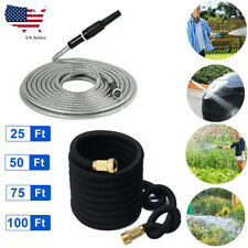 25/50/75/100FT Expanding Stainless Steel Water Hose Pipe Garden Hose Watering US