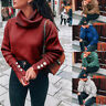 Womens Loose Knitted Pullover Jumper Sweater Turtleneck Long Sleeve Knitwear Top