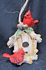Birdhouse Ornament w/ Cardinals  Seasonal Holiday Ornaments