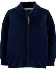 Carter's boy's Zip-Up Cotton Cozy Sweater - Navy - Size 4T