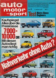 auto motor sport Heft 3 Februar 1974 Test Matra Simca Bagheera VW 412 VW Golf