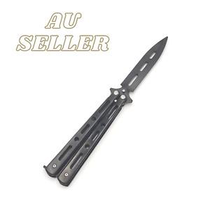 Titanium Butterfly Knife TRAINING/PRACTICE Folding Knife Trainer Tool Black