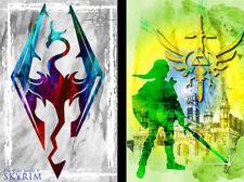 Skyrim Link The Legend of Zelda Gamer Art 2 print LOT 11 x 17 Quality Poster