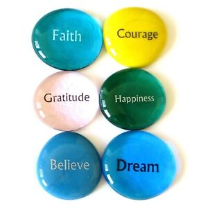 Focus Stones, 6 Inspiring, Encouraging and Motivating Single Words Imprinted on