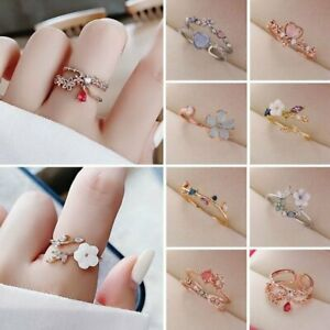 Fashion Hollow Flower Butterfly Diamond Opening Ring Bridal Wedding Jewelry Gift