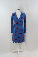 Boden Womens Long Sleeve Blue Polka Dot Red Leaf Print Wrap Dress 6 Petite