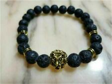 Retro Yellow Gold Mens Tiger Face solid healing volcanic stone bracelet  b