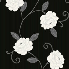 Floral Trail Wallpaper Flower Puccini By Debona Metallic Shiny Black Grey Silver