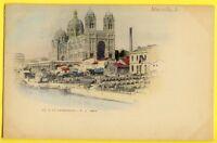 cpa Colorisé 1900 MARSEILLE (Bouches du Rhône) La Cathédrale Quai Tonneaux