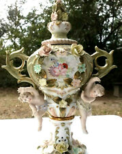 """PAIR VINTAGE ORNATE 12 1/2"""" TALL PORCELAIN URNS PUTTI APPLIED FLOWERS"""