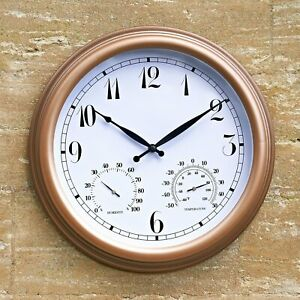 Multi Functional Outdoor Garden Wall Clock With Thermometer & Humidity Meter