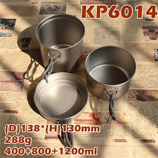 Keith Titanium Pot Camping BBQ Picnic Cookware Set 400ml+800ml+1.2L/295g KP6014