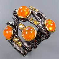 Orange Opal Ring Silver 925 Sterling 5 mm.  Sweet orange color Size 7 /R136506