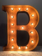 """New Rustic Metal Letter B Light  Marquee: Sign Wall Decoration 24"""" Vintage"""