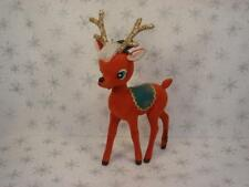 LARGE  WHIMSICAL FLOCKED RED REINDEER DEER CHRISTMAS DECORATION TOP HAT WOW