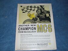 """1960 McCulloch MC-6 Kart Engine Vintage Ad """"Another New Champion"""""""