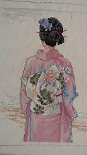 Completed Elsa Williams Cross Stitch The Kimono Japanese Geisha Jca New 13x16