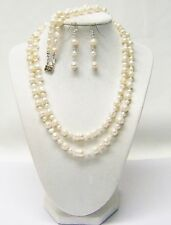 Double Strand White Freshwater Pearl Necklace/Bracelet/Earrings