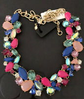 NWT J.Crew  Factory Authentic Crystal MIXED STONES NECKLACE IN VINTAGE BERR