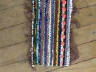 Vintage Hand Woven Rag Rug Tabletop Runner Boho Hippie