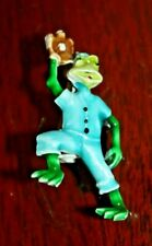 Vintage Frog Figure Metal Enamel Jewelry Pin Playing Basebal with mitt detailed