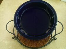 "Temp-tations 10"" Solid Round Pie Dish Plate w/Wire Rack & Trivet Blue New"