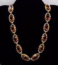 Antique Germany Amber Glass Rhinestone Necklace Bezel Set Oval Link GT Metal