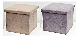 Ottoman Storage Box Blanket Toy FootRest Lid Folding Poufe 38x38x38cm GREY/BEIGE