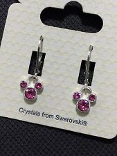 Disney Mickey Mouse Girls Women's Deep Pink Swarovski Crystal Earrings BNWT