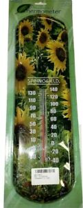 "Springfield Thermometer Indoor/Outdoor 17"" SUNFLOWERS Decorative NEW SEALED"
