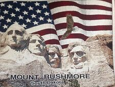 Beautiful Blanket View of Mount Rushmore with US Flag and Egale New with Tag