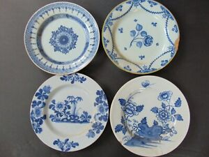 FOUR RARE EARLY DELFT / FAIENCE PLATES - 18th Century