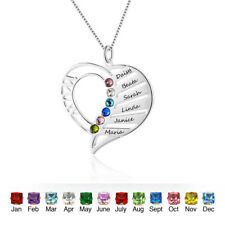 Personalized Birthstone Name Necklace Family Mother Gifts Heart Necklace for Mom