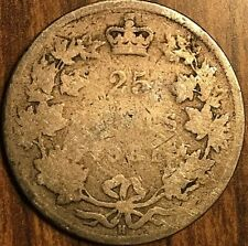 1881 H CANADA SILVER 25 CENTS COIN