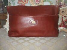 Vintage Franco Pugi gorgeous brown rust soft leather clutch handbag purse  #312