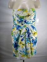 Snap White Blue Green Floral Pleated Strapless Dress Juniors Size 13 Large