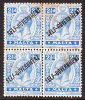 Malta KGV 1922 SG107 2-1/2d. Bright Blue O/Print Blk of 4 MNH stamps