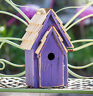 "BIRDHOUSES - ""BRIGHTON BUNGELOW"" WOODEN BIRDHOUSE - PURPLE - GARDEN DECOR"