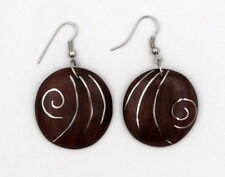 Boucles d'oreille motif spirale en bois de sono et argent 925 artisanat Bali