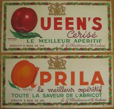French Advertising Signs - Apricot & Cherry Wine - Pair 1930s - ORIGINAL