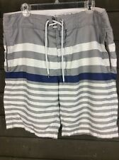 Gap 4027 Grey White Striped Board Shorts Swim Men's L