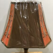 New Luxuious Brown/orange Octangle Square Shape With Gold Motif Lampshade