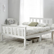 Single Bed Adult White Solid Wooden Frame for Adult Children